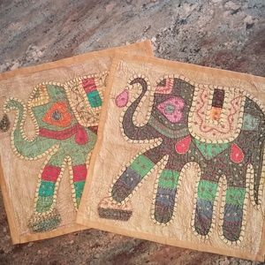 Indian Embroidered Elephant Applique Pillows